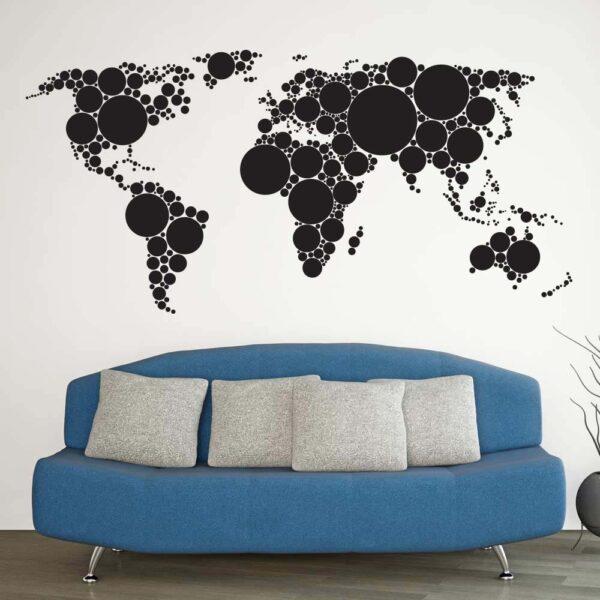 Cirkel Verdenskort Wallsticker
