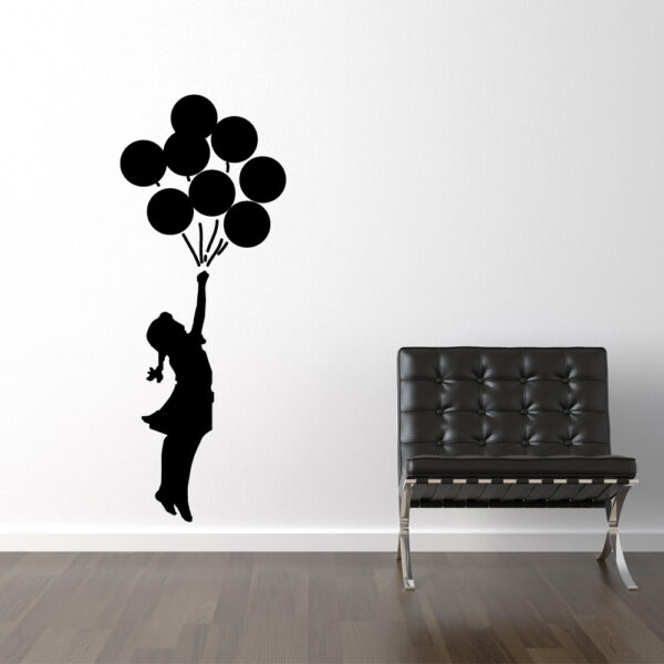 Image altBanksy Flyvende Balloner Sort Wallsticker
