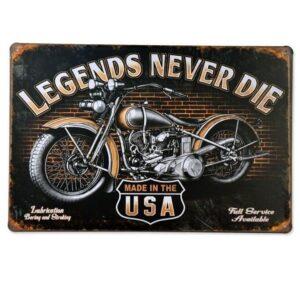Emaljeskilt Harley Davidson - Legends never die