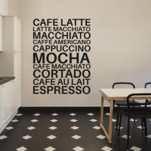 Kaffe-typer Wallsticker