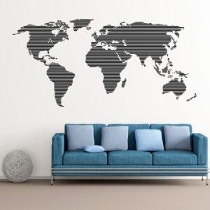 Verdenskort Med Horisontale Linjer Wallsticker