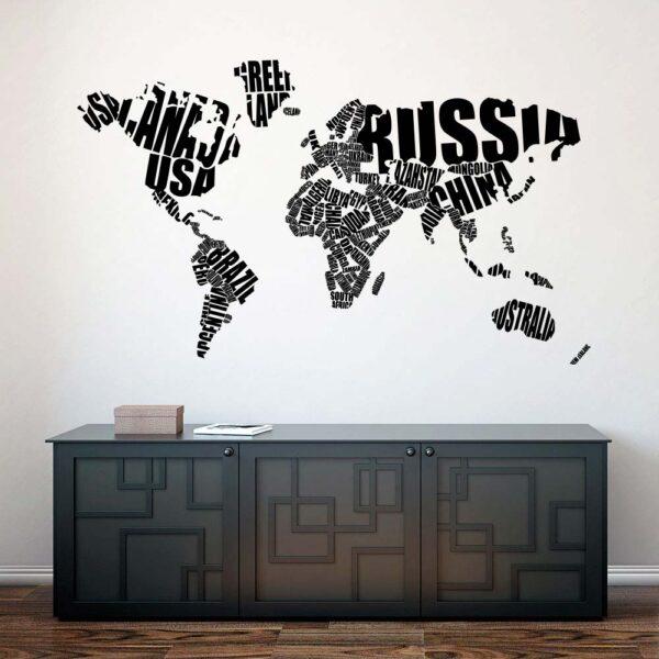Verdenskort Med Bogstaver Wallsticker