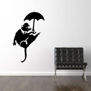 Banksy Rotte Med Paraply Wallsticker