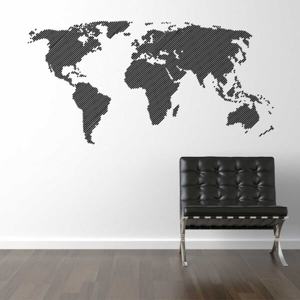 Linjeret Verdenskort Wallsticker