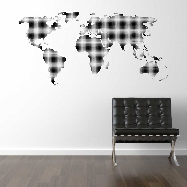 Prikket Verdenskort Wallsticker