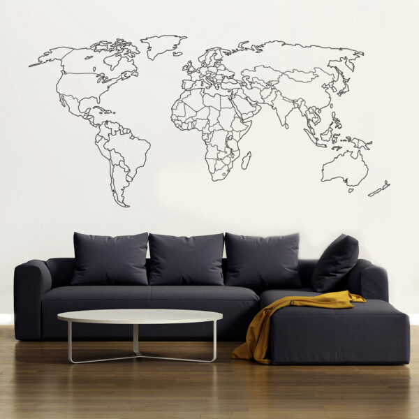 Optegnet Verdenskort Wallsticker